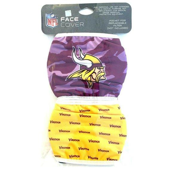 Minnesota Vikings 2 PACK Face Mask Cover Adult